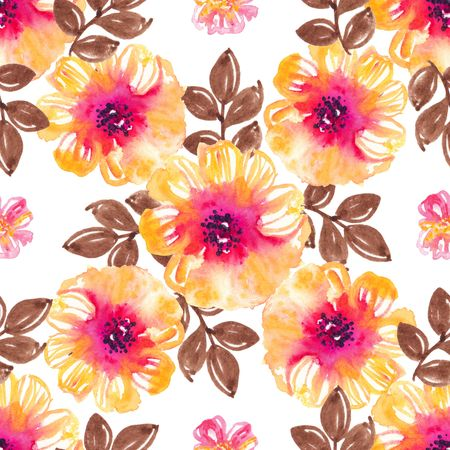 Watercolor natural seamless pattern, flowers and petals seamless background