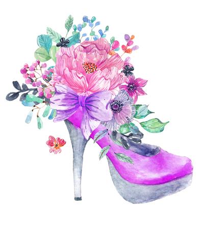 Schöner Aquarell High Heel Schuh mit Blumen über weiß Standard-Bild - 99838809