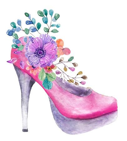 Beautiful watercolor high heel shoe with flowers over white stock beautiful watercolor high heel shoe with flowers over white stock photo 99779660 mightylinksfo