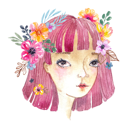 Beautiful watercolor cute girl with flowers in her hair over white