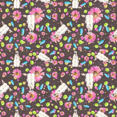Watercolor natural seamless pattern, flowers and petals and cow skull seamless background, boho style