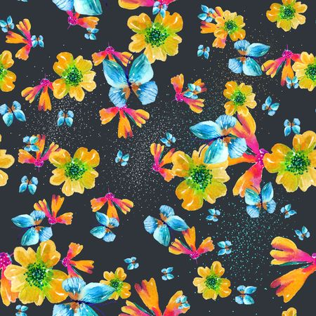 Watercolor natural seamless pattern, flowers and petals seamless background Archivio Fotografico - 99749142