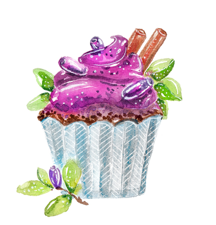 Watercolor cupcake with cream and honeysuckle berries, food illustration