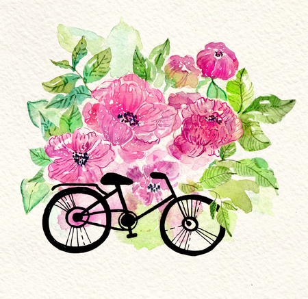 Graphic drawing of  bicycle over watercolor floral background, beautiful card Stock Photo