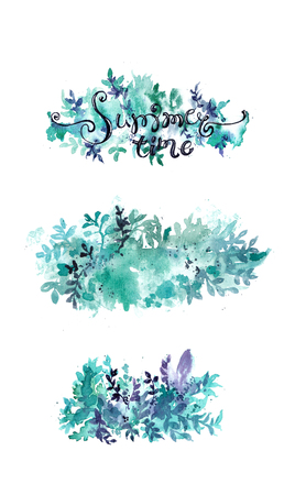 Summer floral background set, watercolor splash and plant collection Stock Photo