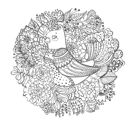Black and white bird with flowers illustration, coloring book page Stock Photo