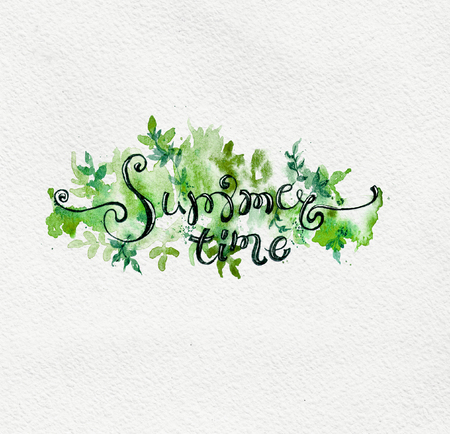 Summer floral background with hand drawn lettering, watercolor splash and plant Stock Photo