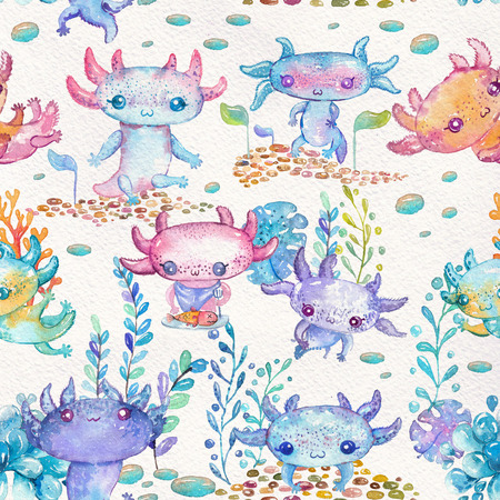 Watercolor cute axolotl characters for kids design of different products like:children party invitations, craft projects, paper products, different kind of decorations, printable, greetings cards, posters, stationery, scrapbooking, stickers, t-shirts, baby clothes, web designs and much more. Seamless pattern Stock Photo