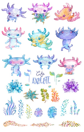 Watercolor cute axolotl characters for kids design of different products like:children party invitations, craft projects, paper products, different kind of decorations, printable, greetings cards, po