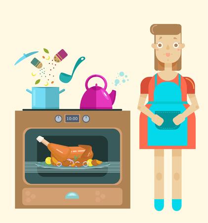 Mistress in the kitchen, cooking, roast turkey, modern illustration, flat style Stock Illustratie