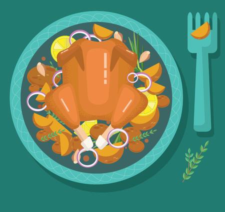 pollo frito, pavo asado, cena festiva, estilo plano moderno, ilustración, vista superior Ilustración de vector