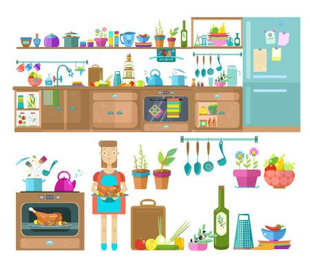 Interior design della cucina. Set di elementi: frigorifero, armadi, utensili da cucina e cibo, illustrazione piatta moderna