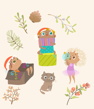 group of children holiday new year, christmas, cute illustration