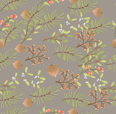 Floral seamless pattern, decoration for Christmas, illustration for holiday design 版權商用圖片 - 110988224
