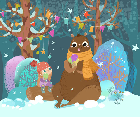 Ð¡ute child and bear eat ice cream in a festive forest, bright childrens illustration for the design of postcards for the New Year or Christmas
