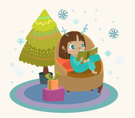 Cute child reading a book in a large armchair, a Christmas tree and gifts, an illustration for a new year or Christmas card design  イラスト・ベクター素材