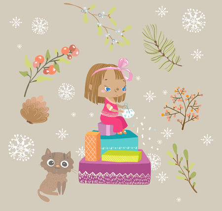 cute girl, child, cuts a snowflake sitting on a mountain of gifts, new year illustration, card design  イラスト・ベクター素材