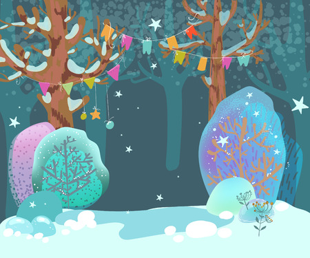 Beautiful, cozy, winter landscape, forest, fancy trees with garlands, illustration for the design of postcards for the holiday of Christmas or New Year