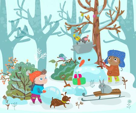 Funny kids play with snow in the forest, snowman, dog and hare, cute illustration for design on Christmas or New Years Eve