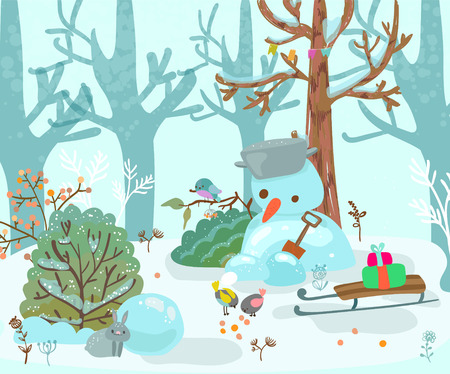 winter forest illustration, landscape with a snowman and sled, beautiful childrens illustration for the holiday of Christmas or the New Year