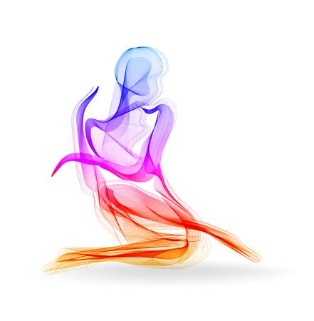 Ballerina donna, ballerina, silhouette elegante, illustrazione di moda moderna Vettoriali