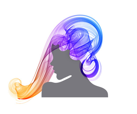 Womans profile with long, beautiful hair, modern abstract illustration, colorful illustration