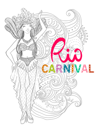 Brazil Carnival. Vector illustration with brazilian dancing girl with feathers and flowers