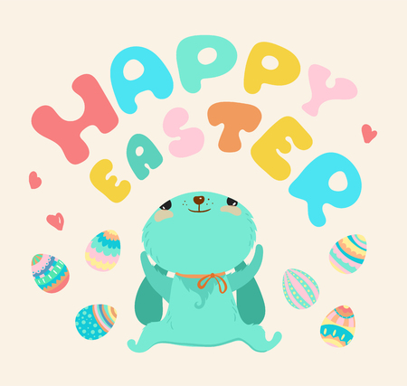 Easter illustration, Cute cartoon rabbit and colorful lettering - Happy Easter  イラスト・ベクター素材