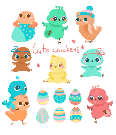 Easter picture, cartoon different chickens, different characters and colored eggs