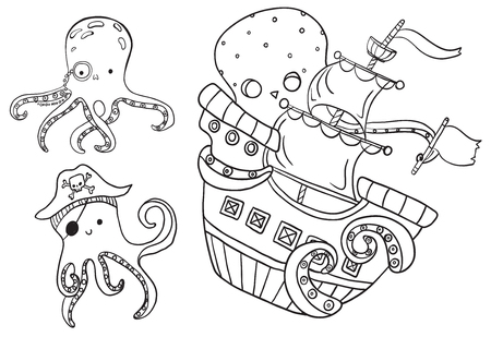 Collection of marine inhabitants - octopus, children illustration, sea set, funny characters, coloring  イラスト・ベクター素材