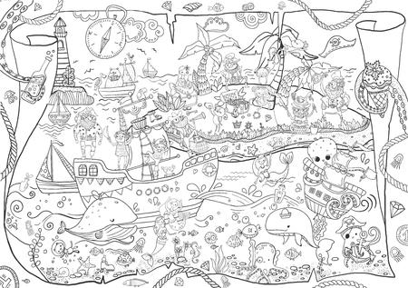 Grandes piratas para colorear, ilustración infantil, muchos personajes, detalles divertidos Ilustración de vector