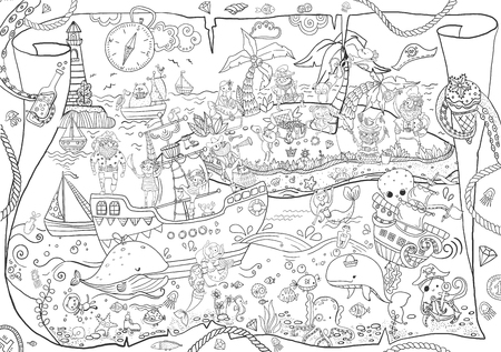 Large pirates coloring, children's illustration, many characters, funny details