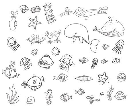 Sea creatures collection, childrens illustration, sea set, funny characters, coloring book