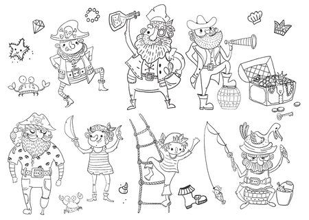 Children's coloring - pirates, different characters, harsh and funny, black and white