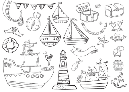 Childrens Coloring, Sea pirate set: boats, lighthouse, chests and other cute baby pictures