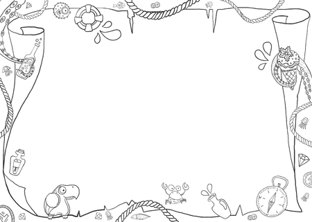 Childrens marine coloring, blank map with different pirate elements for design