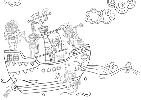 Childrens coloring - pirates, different characters, harsh and funny, black and white Illustration