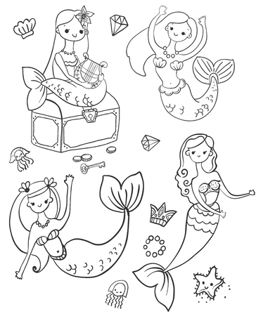 Childrens Coloring, four cute mermaids, cartoon characters