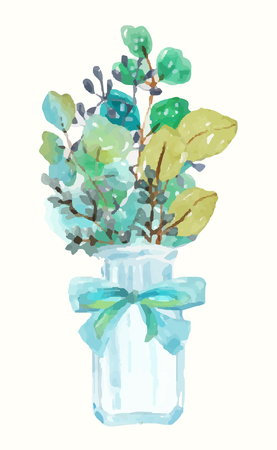 Watercolor green plant bouquet and vintage bottle with bow for beautiful invitation design, greeting cards, scrapbooking