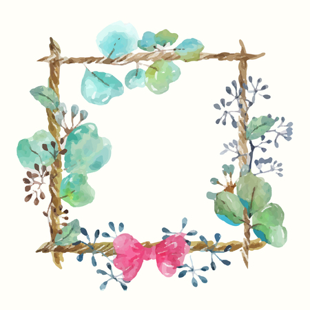 Watercolor frame with leaves and seeds and twine with a bow, handmade, beautiful frame for the design of cards, invitations, scrapbooking and other Zdjęcie Seryjne - 122038080