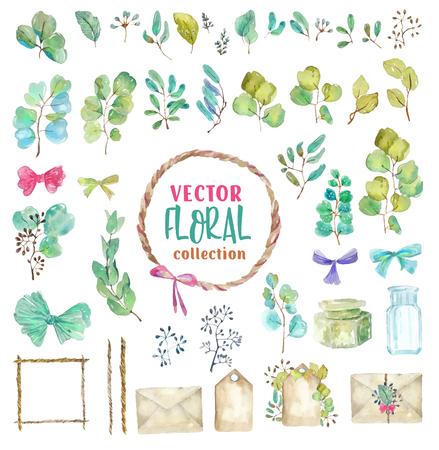 Conjunto de elementos de plantas verdes de acuarela y detalles vintage: papel viejo, cordel, botellas para un hermoso diseño de invitación, tarjetas de felicitación, álbumes de recortes