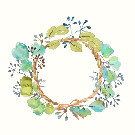 Watercolor frame with leaves and seeds and twine with a bow, handmade, beautiful frame for the design of cards, invitations, scrapbooking and other