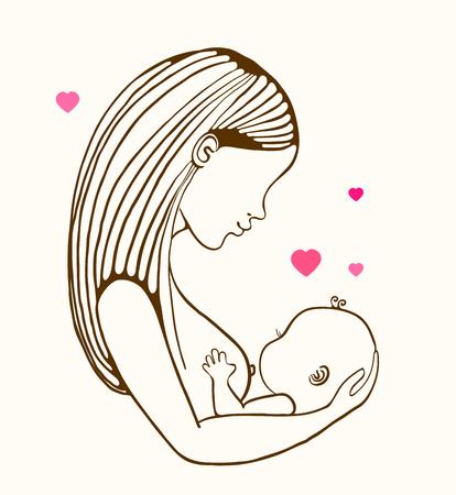 Alimentación de la madre y lindo bebé, ilustración lineal