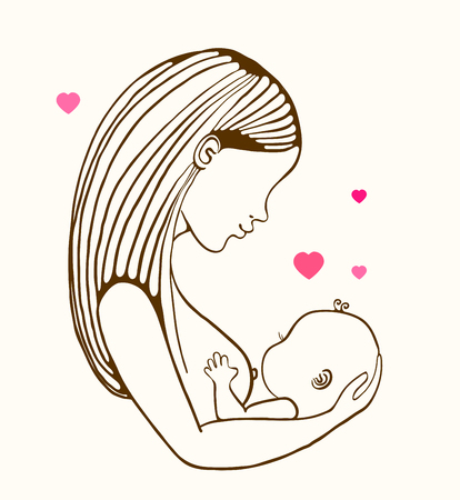 Mother breast feeding and cute baby, linear illustration Stock Illustratie