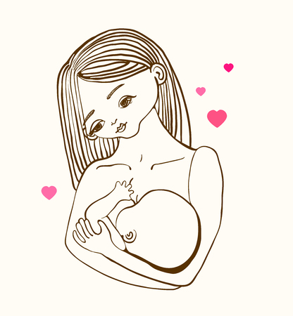 Mother breast feeding and cute baby, linear illustration Illustration