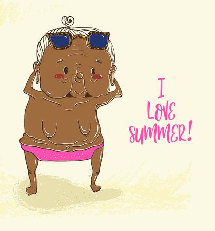 Elderly lady sunbathes without a bra, funny illustration