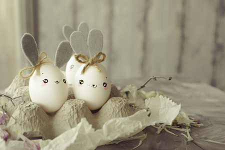 Easter decoration for home, handmade work, cute eggshell rabbits, beautiful  for card design Stok Fotoğraf