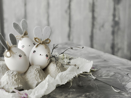 Easter decoration for home, handmade work, cute eggshell rabbits, beautiful  for card design Imagens - 118854618