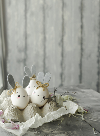 Easter decoration for home, handmade work, cute eggshell rabbits, beautiful  for card design 写真素材 - 118854475