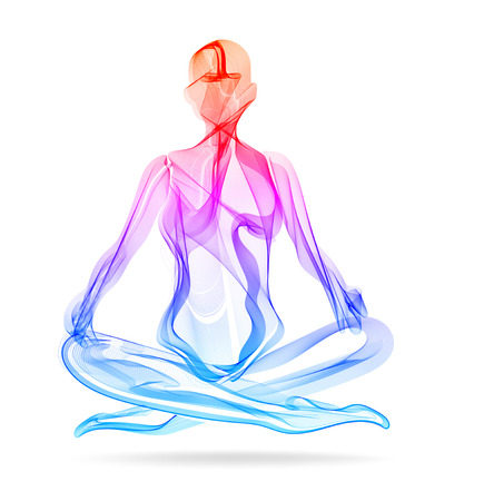 Abstract womans silhouette yoga pose Stok Fotoğraf